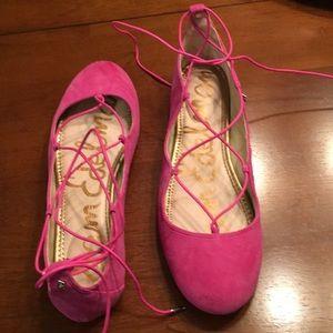 Sam Edelman Flynt Ghillie ballet flat in hot pink.